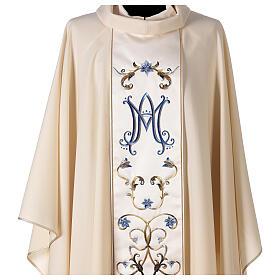 Chasuble mariale couleur ivoire fleurs bleues claires 100% laine s3