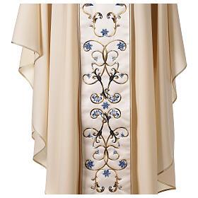 Chasuble mariale couleur ivoire fleurs bleues claires 100% laine s5