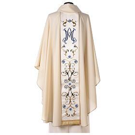Chasuble mariale couleur ivoire fleurs bleues claires 100% laine s6