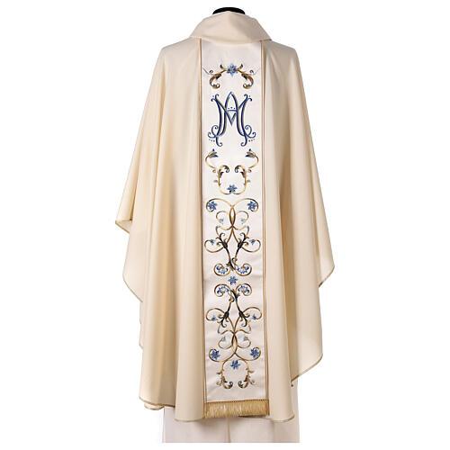 Chasuble mariale couleur ivoire fleurs bleues claires 100% laine 6