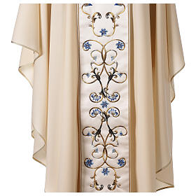 Ivory Marian chasuble with blue flowers 100% wool s5