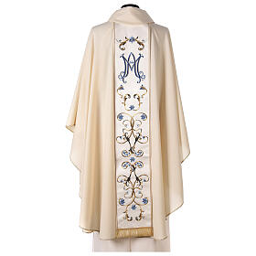 Ivory Marian chasuble with blue flowers 100% wool s6