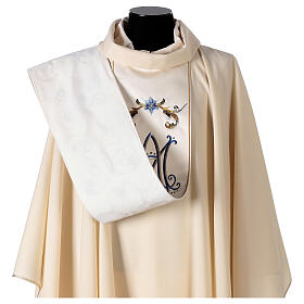 Ivory Marian chasuble with blue flowers 100% wool s7