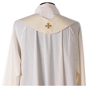 Ivory Marian chasuble with blue flowers 100% wool s10