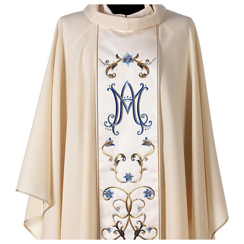 Ivory Marian chasuble with blue flowers 100% wool 3