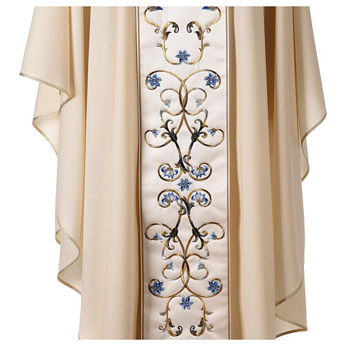 Ivory Marian chasuble with blue flowers 100% wool 5
