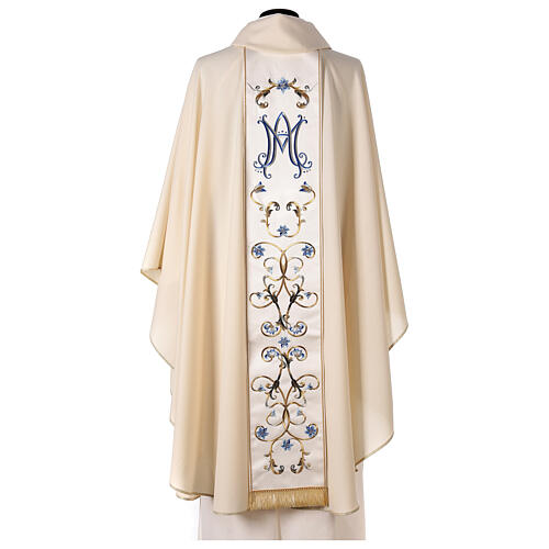 Ivory Marian chasuble with blue flowers 100% wool 6