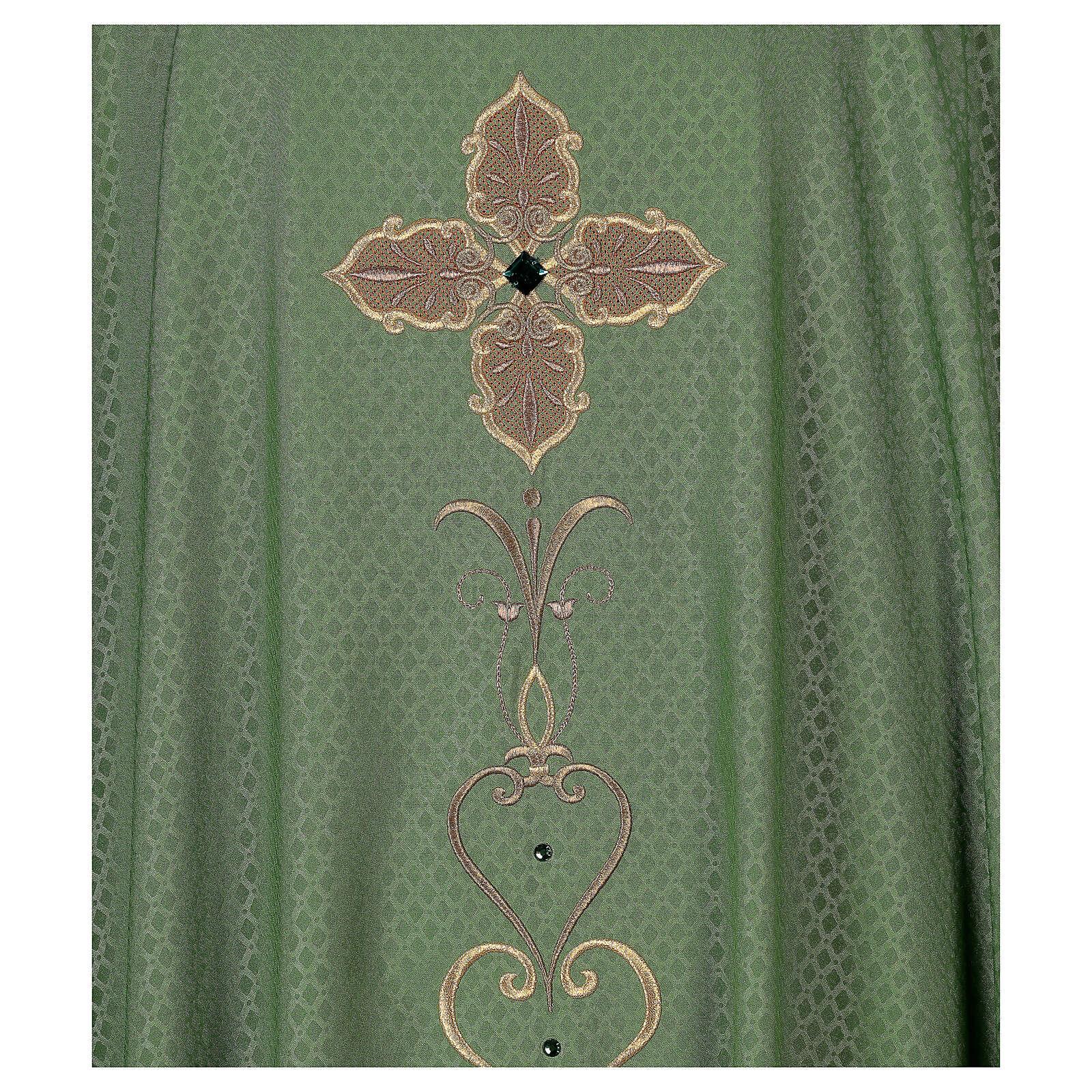 Casulla tejido impreso 100% poliéster bordado con máquina piedras 4
