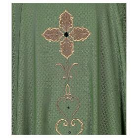 Casulla tejido impreso 100% poliéster bordado con máquina piedras s4