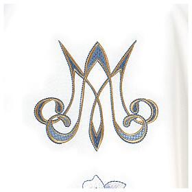 Casulla Mariana 100% poliéster bordado con máquina lirio monograma s3