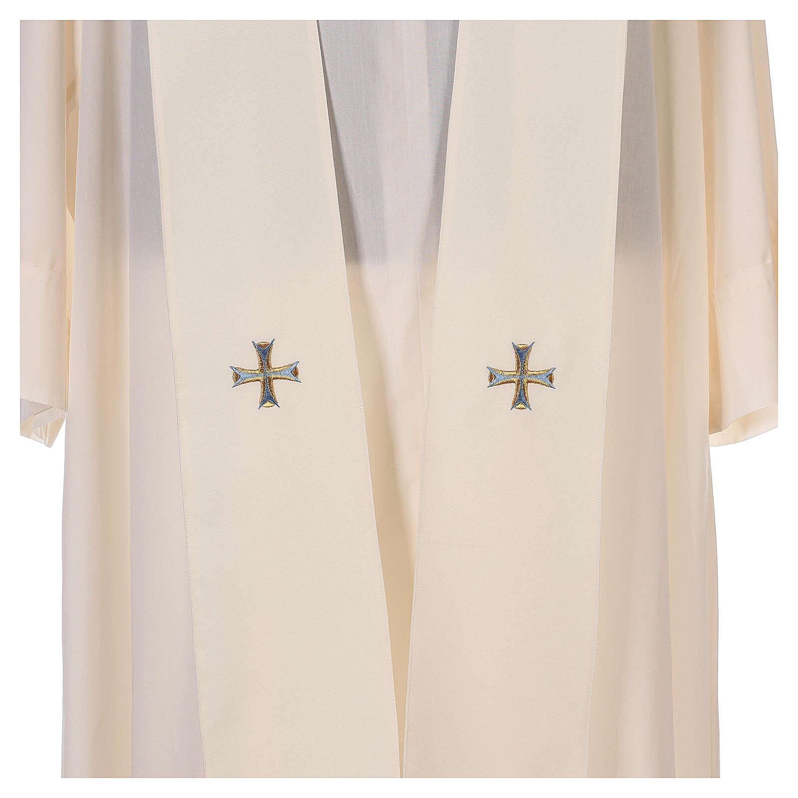 Chasuble mariale 100% polyester brodée à la machine lys monogramme 4