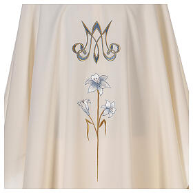 Chasuble mariale 100% polyester brodée à la machine lys monogramme s2