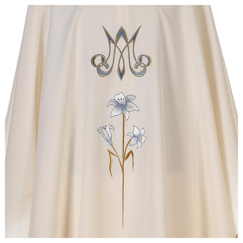 Chasuble mariale 100% polyester brodée à la machine lys monogramme 2