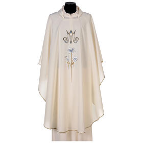 Marian chasuble 100% polyester machine embroidered lily monogram s1