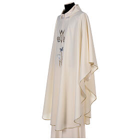 Marian chasuble 100% polyester machine embroidered lily monogram s4