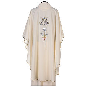 Marian chasuble 100% polyester machine embroidered lily monogram s6