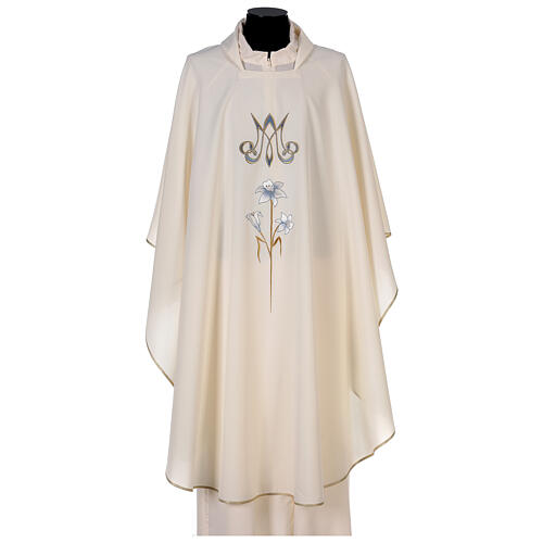 Marian chasuble 100% polyester machine embroidered lily monogram 1