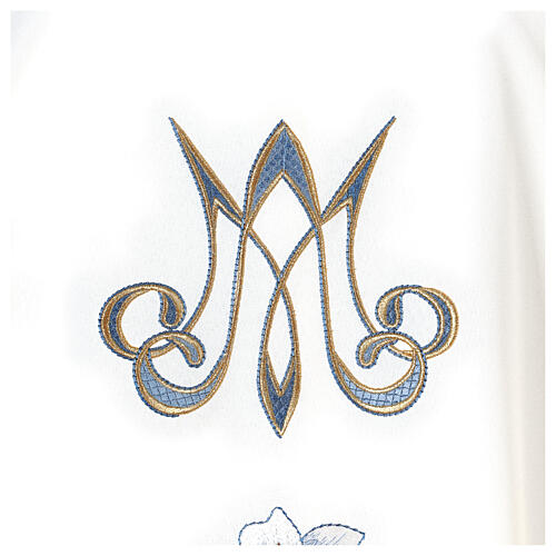 Marian chasuble 100% polyester machine embroidered lily monogram 3