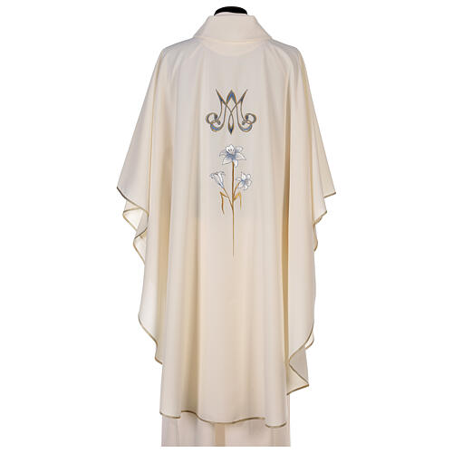 Marian chasuble 100% polyester machine embroidered lily monogram 6