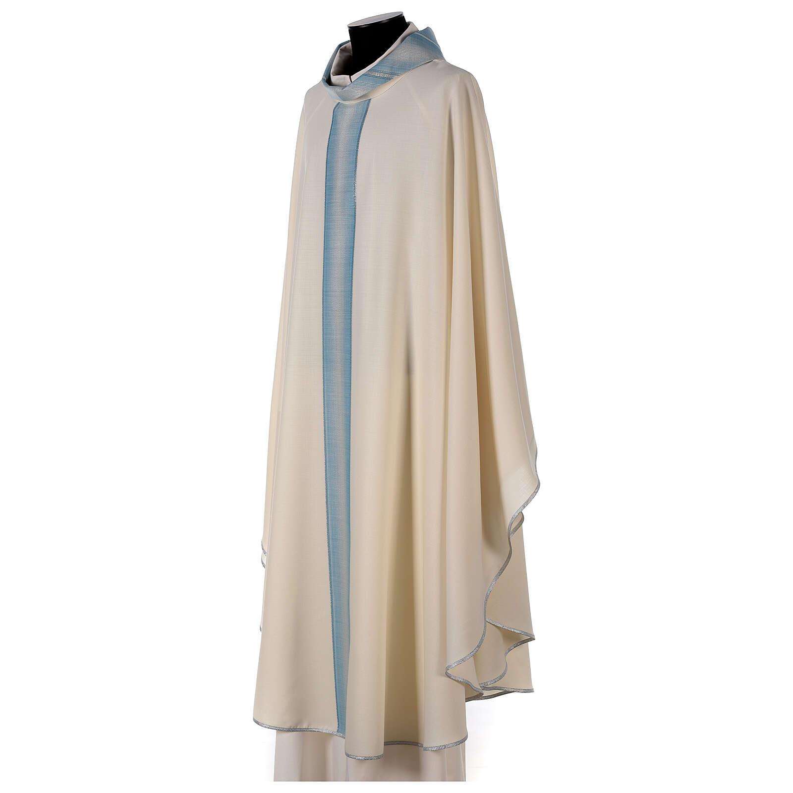 Casulla Mariana tira cuello con rayas 97% lana 3% lurex 4