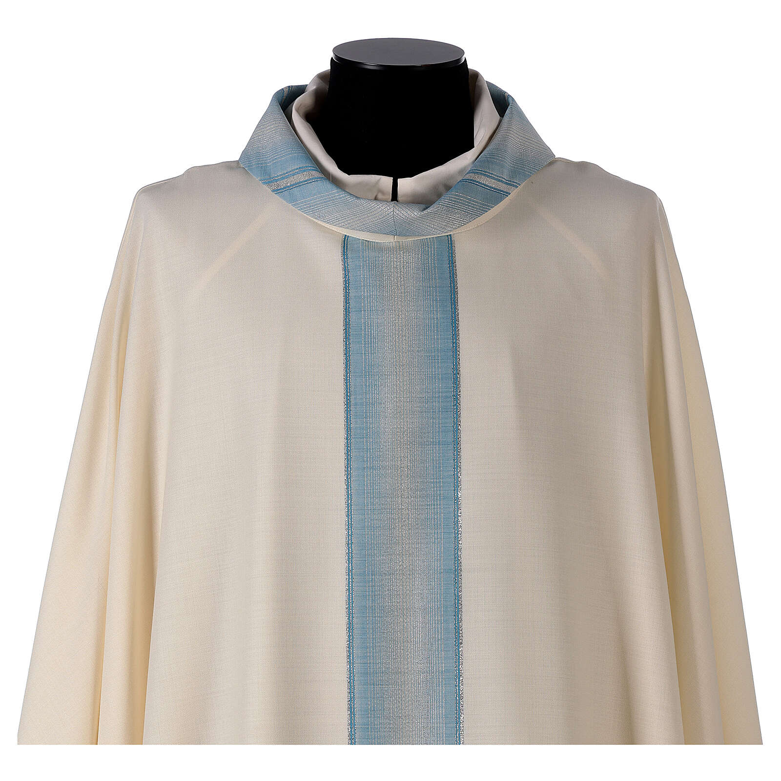Chasuble mariale bande col avec rayures 97% laine 3% lurex 4