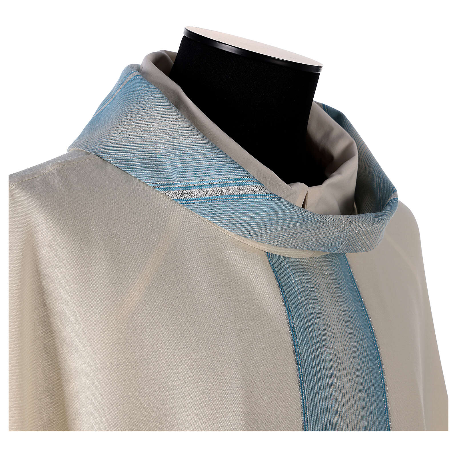 Marian chasuble with neck stripe and striped design 97% wool 3% lurex 4