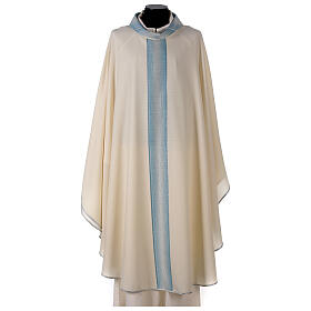 Marian chasuble with neck stripe and striped design 97% wool 3% lurex s1
