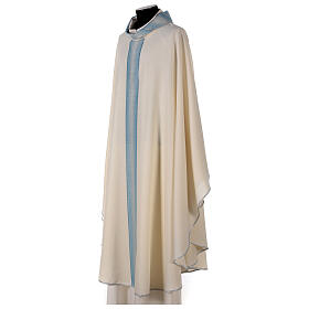 Marian chasuble with neck stripe and striped design 97% wool 3% lurex s3