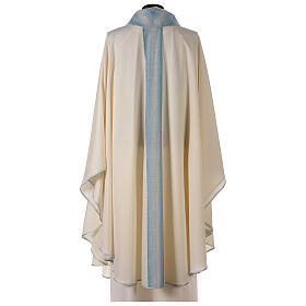 Marian chasuble with neck stripe and striped design 97% wool 3% lurex s5