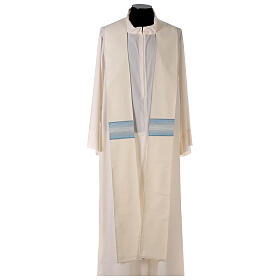 Marian chasuble with neck stripe and striped design 97% wool 3% lurex s6