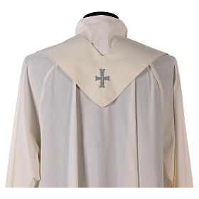 Marian chasuble with neck stripe and striped design 97% wool 3% lurex s8