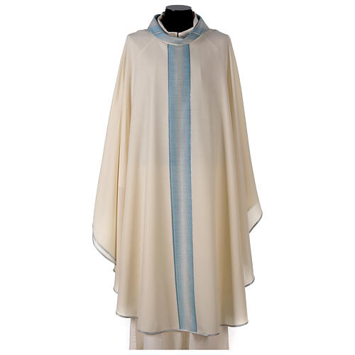 Marian chasuble with neck stripe and striped design 97% wool 3% lurex 1