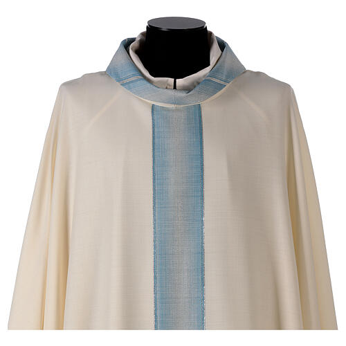 Marian chasuble with neck stripe and striped design 97% wool 3% lurex 2