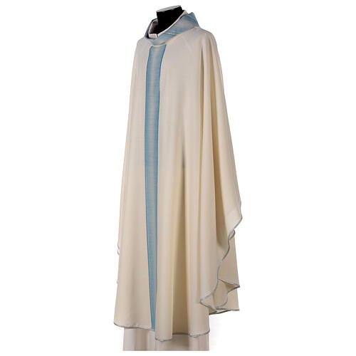 Marian chasuble with neck stripe and striped design 97% wool 3% lurex 3