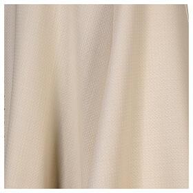 Casulla tejido elaborado 100% lana franja bordada con máquina marfil s4