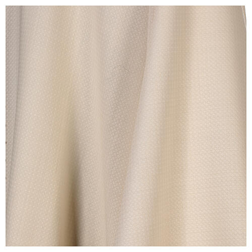 Casulla tejido elaborado 100% lana franja bordada con máquina marfil 4