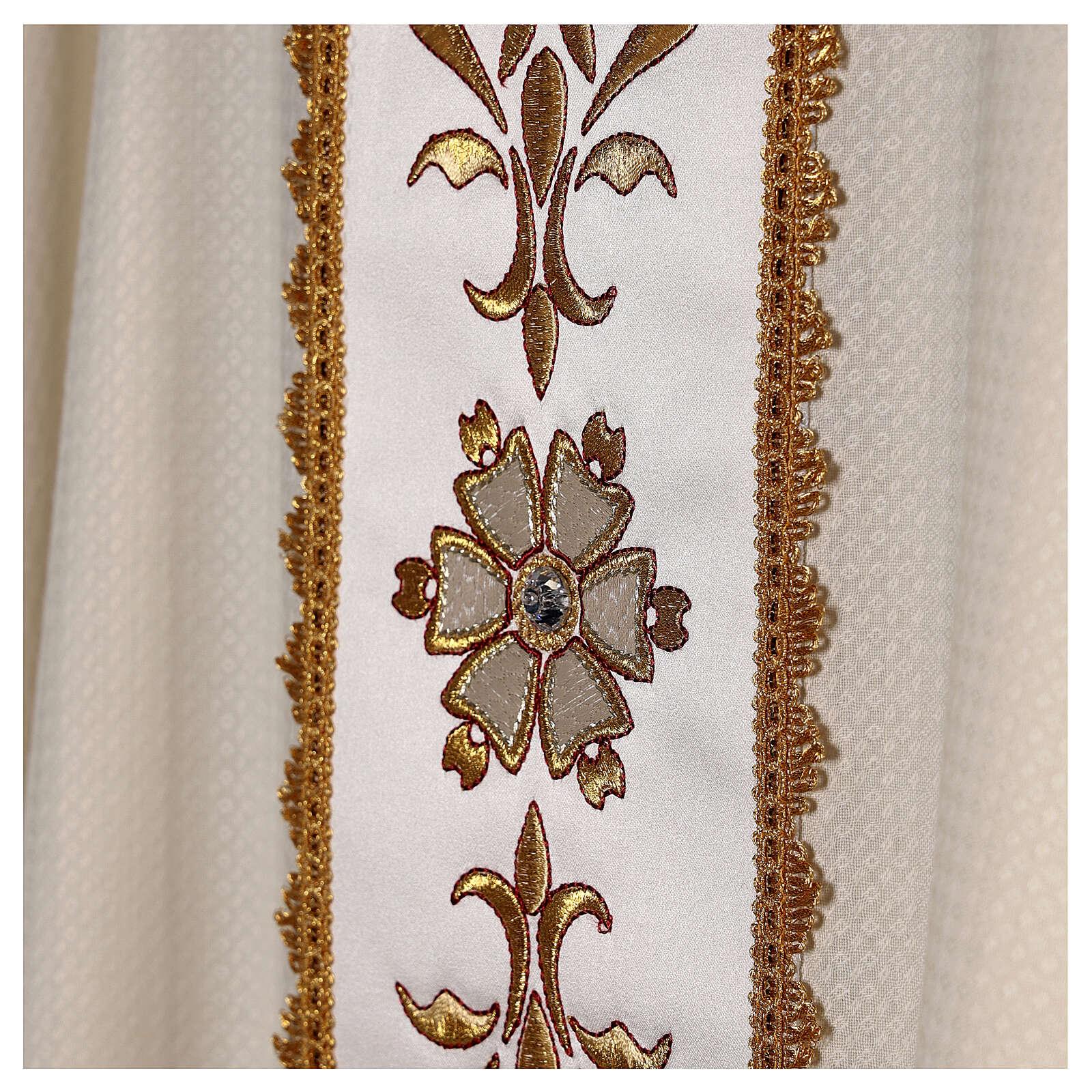 Chasuble tissu façonné 100% laine bande centrale broderie à la machine couleur ivoire 4