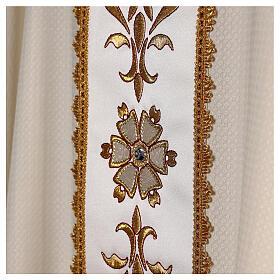 Chasuble tissu façonné 100% laine bande centrale broderie à la machine couleur ivoire s6