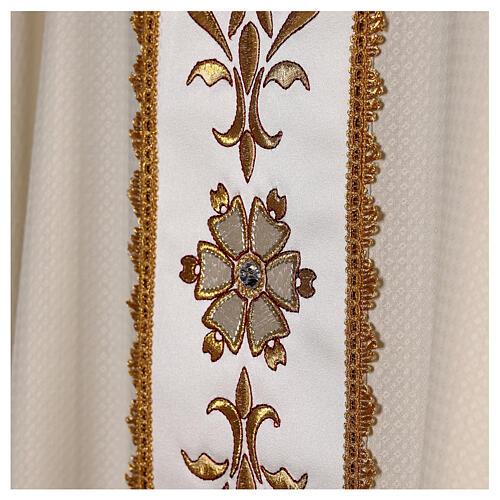 Chasuble tissu façonné 100% laine bande centrale broderie à la machine couleur ivoire 6