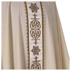 Ivory chasuble textured fabric 100% stole wool machine embroidered s5