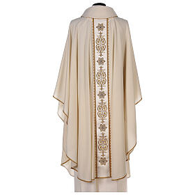 Ivory chasuble textured fabric 100% stole wool machine embroidered s7