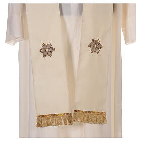 Ivory chasuble textured fabric 100% stole wool machine embroidered s9