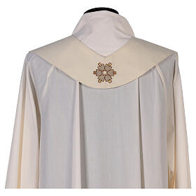 Ivory chasuble textured fabric 100% stole wool machine embroidered s10