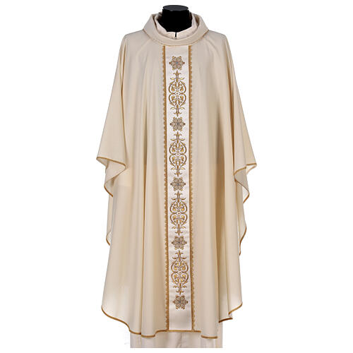 Ivory chasuble textured fabric 100% stole wool machine embroidered 1