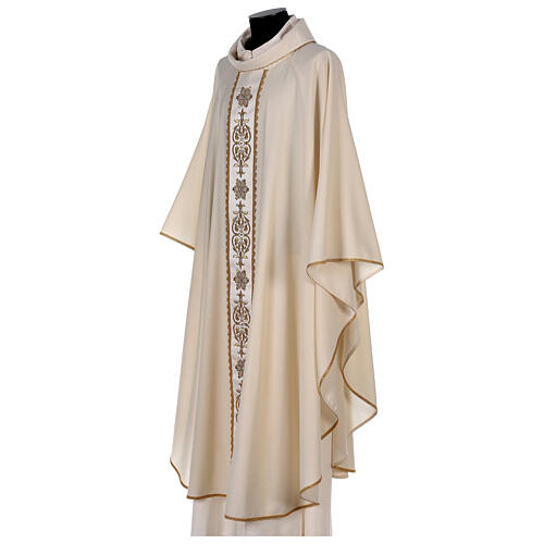 Ivory chasuble textured fabric 100% stole wool machine embroidered 3