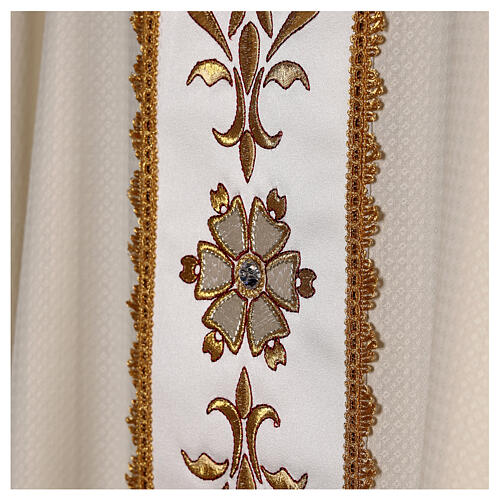 Ivory chasuble textured fabric 100% stole wool machine embroidered 6