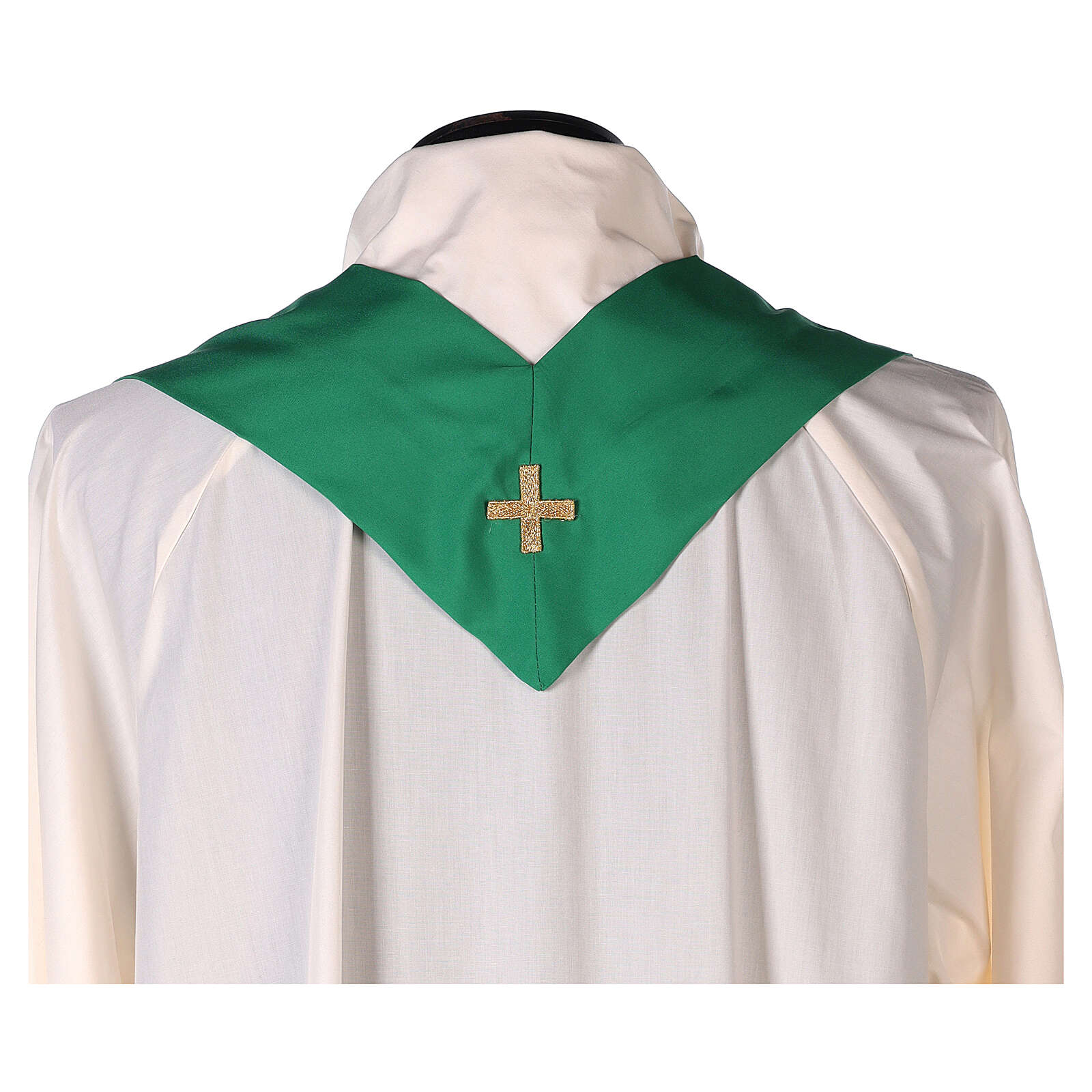 Set 4 chasubles polyester 4 couleurs IHS croix rayons PROMO 4