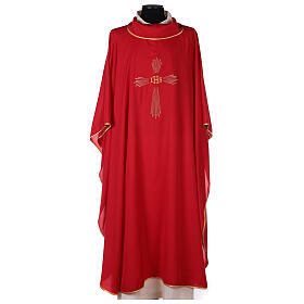 Set 4 chasubles polyester 4 couleurs IHS croix rayons PROMO s4