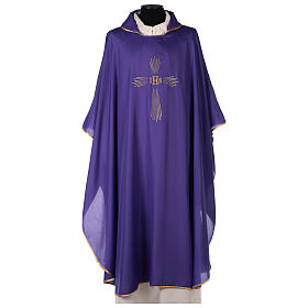 Set 4 chasubles polyester 4 couleurs IHS croix rayons PROMO s6