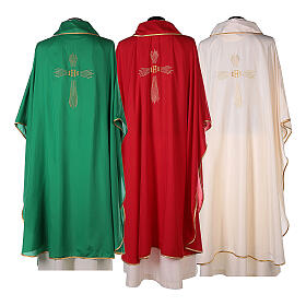Set 4 chasubles polyester 4 couleurs IHS croix rayons PROMO s14